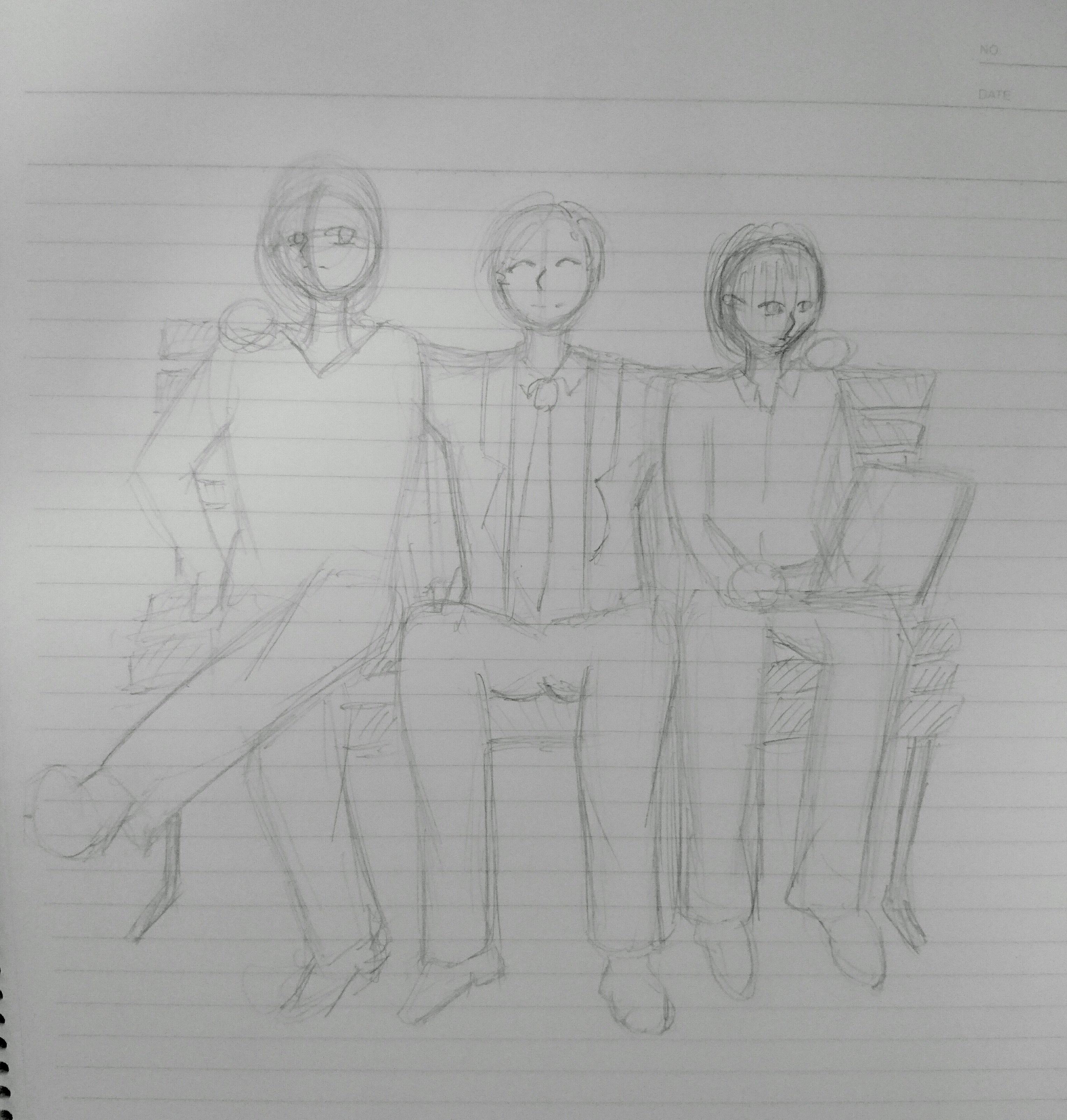 小説の表紙 男性3人のイラスト 背景無し スキマ スキルのオーダーメイドマーケット Skima